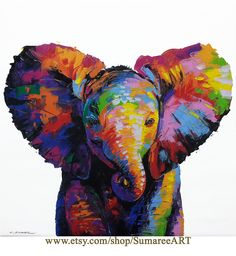 beautiful elephant actual painting-by SumareeART