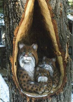Chainsaw Art-Bobcats