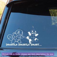 2 X SQUIRTLE Pokemon Vinyl Car Graphics Decal Pokemon Go Catch Quote Car Sticker