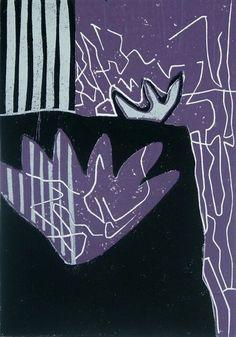 Linolschnitt Lotos aus 7 Zeichen der Natur    Diese abstrakte Linolschnitt Reihe ist entstanden aus 7 Motiven, Natursymbole mit hohem Verdichtungsgrad
