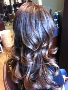 foils and ombre on dark hair