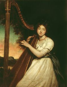 ♪ The Musical Arts ♪ music musician paintings - James Northcote | A Young Lady Playing the Harp, exhibited 1814