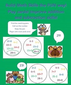 A fun way to build math fluency. Match a numeral to its number word or equation. Or match equations that have the same sum or difference. Students will develop fluency adding and subtracting sums to 30 as they play. Deck contains 33 cards.All products  Ms.