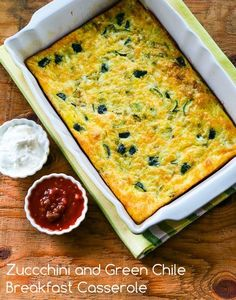 Zucchini and Green Chile Breakfast Casserole; this is such a delicious breakfast recipe I'd even buy zucchini to make it if there weren't any garden zucchini available. [from KalynsKitchen.com] #LowCarb #GlutenFree #HealthyBreakfast