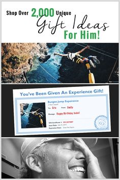 Most of us really want to show our husbands or boyfriends we love them… but it's not as easy as flowers and chocolate. Discover thousands of amazing and unique experiences to put him on cloud 9… plus gift INSTANTLY with email or printable certificates!