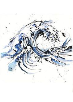 Tattoo design by Petra Hlavackova, via Behance. Hokusai& Great Wave - Tattoo design by Petra Hlavackova, via Behance. Hokusai & Great Wave done a little bit differ - Tattoo Femeninos, Hannya Tattoo, Piercing Tattoo, Get A Tattoo, Body Art Tattoos, New Tattoos, Cool Tattoos, Wave Tattoos, Ocean Wave Tattoo