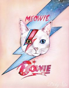 Meowie-David Bowie-Art Print-Illustration-Cat Art-Cat Lovers-Watercolor Painting