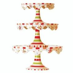 Glitterville Christmas Stacking Cupcake or Cake Pedestal Stands / Plates, Set of 3 Sizes, Ceramic Create a magical table both striking and smart with holiday Candy Land Christmas, Christmas Gingerbread, Christmas Crafts, Christmas Decorations, Christmas Dishes, Whimsical Christmas, Gingerbread Men, Christmas Foods, Christmas Sweets