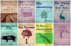 Re-Imagined Book Cover Series - Literary Art - Set of 8 4x6, 5x7, 8x10  - Mockingbird, Wuthering Heights, Awakening - Set C