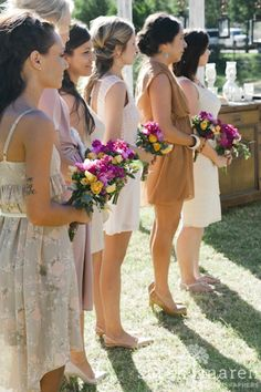 Backyard Wedding in Grass Valley, California - Bridesmaids at Outdoor Ceremony - Sarah Maren Photographers