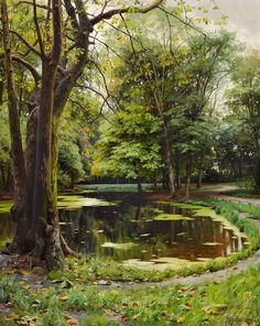 A Lake in the Park with Chestnut Trees - Peder Mork Monsted
