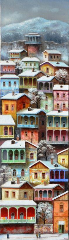 Tbilisi, houses under the snow 2016, 140×40 oil-canvas, $3,500
