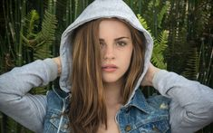 People 1920x1200 Bridget Satterlee women model face hoods women outdoors arms up long hair