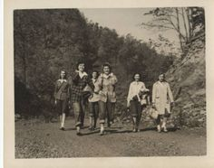 Six female students enjoy a hike, ca. 1940s.