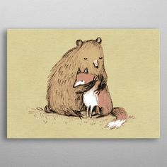 Grizzly Hugs by Sophie Corrigan Wall Art Prints, Canvas Prints, Hugs, Moose Art, Canvas Art, Wall Decor, Teddy Bear, Posters, Fine Art