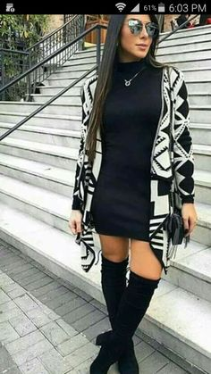 ( Aztec pattern) All Black, high boots and a bold Aztec pattern sweater. ( Aztec pattern) All Black, high boots and a bold Aztec pattern sweater. Dress Outfits, Casual Outfits, Fashion Outfits, Womens Fashion, Work Outfits, Fur Vest Outfits, Sweater Dresses, Dress With Cardigan, Moda Fashion