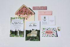 Custom Illustrated Wedding Invitations by chicksnhens on Etsy