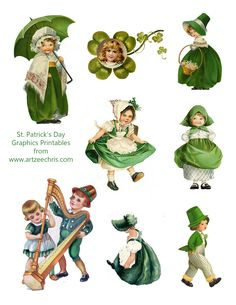 Free St. Patrick's Day Vintage Graphics printable for scrapbooking and paper crafting from  www.artzeechris.com