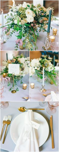 Romantic indoor wedding reception decor, tall white and green candles, cream floral centerpieces, white napkins, gold utensils, light pink glassware  // Connie Whitlock Photography