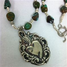 Fine Silver Sacred Heart Necklace