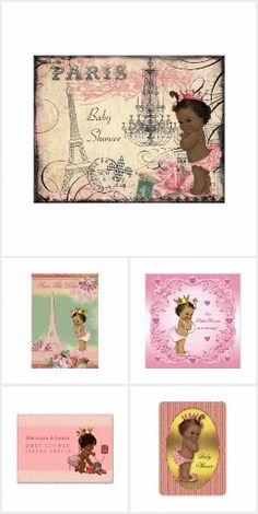 Cute Ethnic Princess Baby Shower invitations, personalized party favors and gifts.