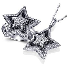 Unique fashion set of matching star diamond ring and necklace, featuring micro pave setting of white and black diamonds. Black Diamond Jewelry, Diamond Rings, Diamond Engagement Rings, Ring Necklace, Stud Earrings, Canadian Diamonds, Star Ring, Black Diamonds, Star Shape