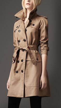Long Oversize Resinated Cotton Trench Coat | Burberry