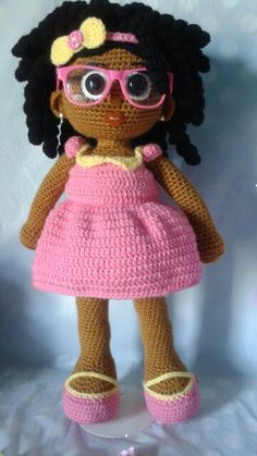 Crochet Doll; African American girl with coils, removable shoes, dress, headband and glasses!