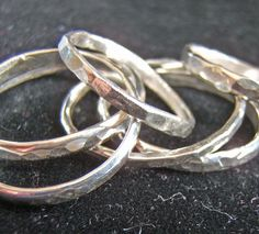 Rustic Silver Ring Hammered - Heavy with Light Reflecting Facets.. $18.00, via Etsy.