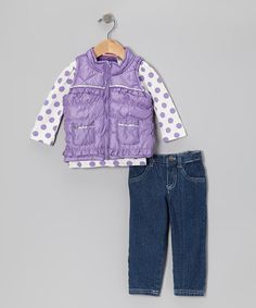 Designed for total convenience and maximum charm, this simple-to-sport set takes the guesswork out of dressing little ones for the day. Cleverly coordinated both top and bottom, it boasts durable denim pants, a polka dotted top and sparkle-sprinkled puffer vest for extra toastiness.Includes top, jeans and vestTop: 100% cotton