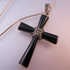"""$35.00 Art Deco Style Cross Black Onyx Marcasite Sterling Silver Pendant Necklace 18"""" by BrightEyesTreasures on Etsy"""