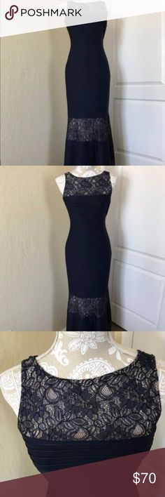 """London Times Floral Maxi Dress London Times Navy Blue Floral sleeveless Maxi Dress. Great dress for a Christmas Formal Event. Size 4, length is 56"""". Dress has a liner made of silk. Dry cleaning only. London Times Dresses Maxi"""