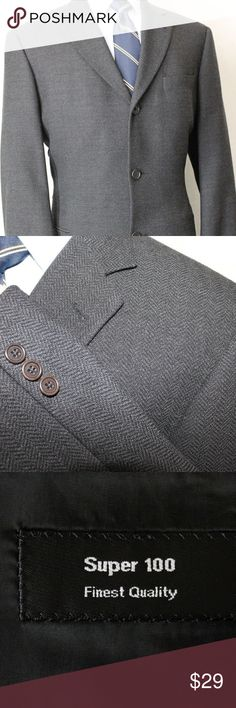 41R Hugo Boss 110 Gray Herringbone Wool Sport Coat 41R Hugo Boss 110s Charcoal Gray Herringbone 100% Wool Sport Coat Blazer JA7  Great jacket, blazer, sport coat for your next wedding or graduation!  We offer combined shipping!  Place the items in your cart and eBay will calculate the combined shipping rate.   Please do Not hesitate to contact us if you have any questions!    Brand: Hugo Boss Color: Charcoal Feature: Herringbone Material: 100% Wool Size: 41R Chest: 46 Sleeve: 23 (1 can be…