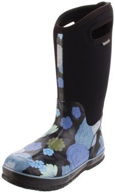 "Bogs Women's Classic High Jardin Rain Boot                                 Synthetic and rubber                    Rubber sole                    Shaft measures approximately 13"" from arch                    Heel measures approximately 1.25""                    Boot opening measures approximately 14"" around                    Durable hand-lasted rubber over a four way stretch inner bootie                    Aegis antimicrobial odor protection insole…"