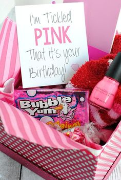 Tickled Pink Birthday Gift Idea for Friends-A cute way to tell a friend happy birthday with a gift basket full of all things pink! for best friends pink Tickled Pink Gift Idea 25th Birthday Gifts, Cute Birthday Gift, Birthday Gifts For Best Friend, Unique Birthday Gifts, Pink Birthday, Birthday Gifts For Boyfriend, Best Friend Gifts, Boyfriend Gifts, Best Gifts