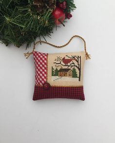 Completed Primitive Cross Stitch Button Up Christmas Ornament