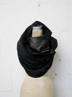 Black Linen and Leather Long Scarf / Men's Black Scarves by artlab, $90.00