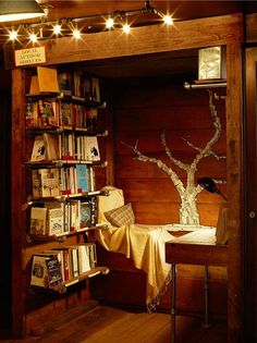 This tiny cozy reading nook has everything a bookworm needs within an arm's reach -- you barely even need to leave the bed!