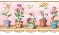 dolls house fairies & flowerpots wallpaper border 4 strips - 1 sheet ready to cut out and use! totals 1 metre (1 yard)