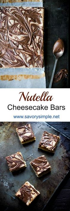 Nutella Cheesecake Bars are the perfect dessert! You won't be able to stop eating them! Get this easy to follow recipe from Savory Simple.