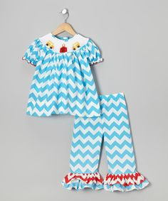 Blue Zigzag Bishop Top & Ruffle Pants - Infant, Toddler & Girls
