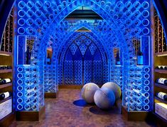 Coolest wine cellar ever? yes, coolest wine cellar ever. :) Pool House & Wine Cellar by Beckwith Interiors Wine Cellar Modern, Wine Cellar Design, Modern House Design, Home Design, Design Ideas, Design Trends, Caves, Inspiration Wand, Crazy Home