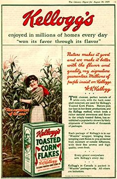 'Kellogg's Cornflakes, 1919' - Wonderful A4 Glossy Print Taken from A Vintage Product Ad by Design Artist http://www.amazon.co.uk/dp/B00PIBLGFY/ref=cm_sw_r_pi_dp_Pz2rvb1Y4636M