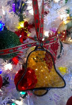 Stained Glass Holiday Jingle Bell Christmas Tree Ornament by JBsGlassHouse