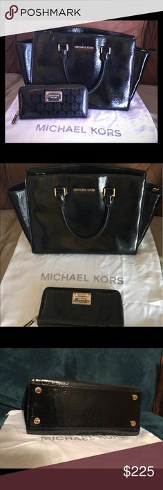 Michael Kors Selma with matching wallet Authentic Michael Kors Selma Black Patent Saffiano Leather Satchel with matching Michael Kors Black Patent Leather Wallet. Golden hardware. Barely use it for 2 weeks! Excellent conditions! Clean from inside out! Michael Kors Bags Satchels