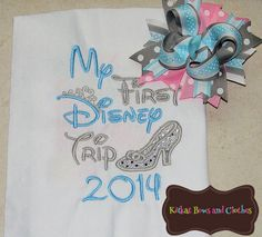 Cinderella Inspired First Trip to Disney Applique Shirt and Matching Hairbow - Disney - Cinderella - Vacation - First Trip