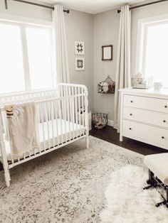 Ivory and grey rug is the perfect neutral farmhouse style backdrop for a gender neutral nursery. Rearranging Our Neutral Nursery Valley Birch Decor Style Home Decor Style Decor Tips Maintenance Nursery Rugs, Nursery Themes, Nursery Grey, Elephant Nursery, Grey Baby Rooms, Simple Baby Nursery, Baby Bedding, Grey Carpet, Baby Boy Nurseries