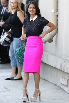 lace pencil skirt outfit - Olivia Wilde