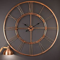 Handmade Large Copper Color Metal Wall Clock Metal Wall A…