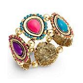 Style&co. Gold-Tone Spice Multicolor Teardrop Stretch Bracelet